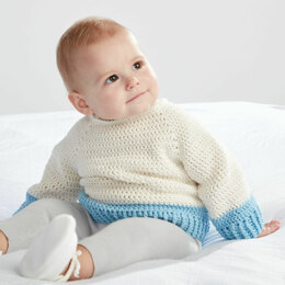 Dip Down Crochet Pullover in Bernat Softee Baby Cotton - Downloadable PDF