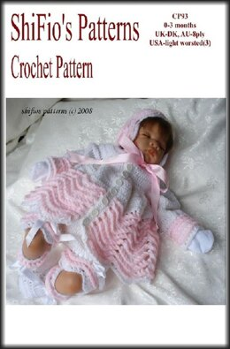 Crochet Pattern Baby Jacket, Hat & Booties UK & USA Terms #93