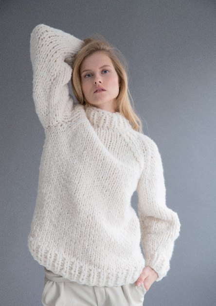 Super Chunky Jumper Knitting Pattern : Sweater in Rico Creative Bonbon Super Chunky Uni - 382 - Downloadable PDF