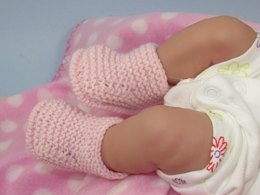 Just For Preemies - Premature Baby 4 Ply Garter Stitch Bumper Booties
