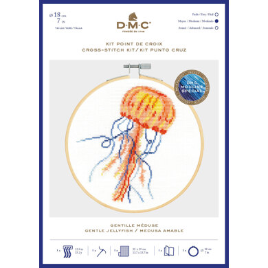 DMC Gentle Jellyfish Cross Stitch Kit (with 7in hoop) - 7in
