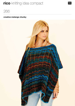 Poncho & Tie Front Jacket in Rico Creative Melange Chunky - 266