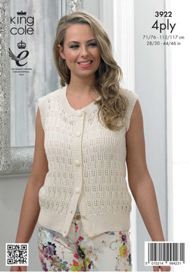 2841ec0fe Womens  Cardigan and Waistcoat in King Cole Bamboo Cotton 4 Ply ...