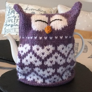 Owl Heart Tea Cosy Knitting Pattern By Julie Richards