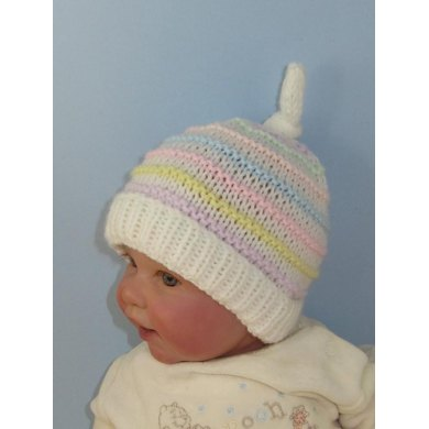 Baby Candy Stripe Topknot Beanie Hat