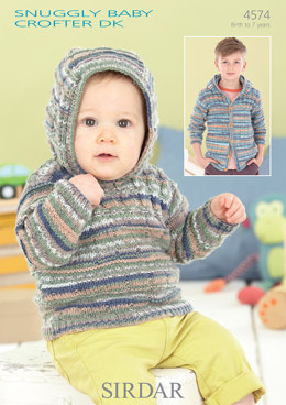 Hooded Sweater & Jacket in Sirdar Snuggly Baby Crofter DK - 4574