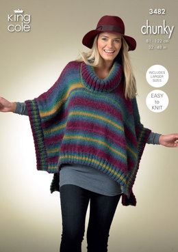 Square Poncho and Pointed Poncho in King Cole Riot Chunky - 3482
