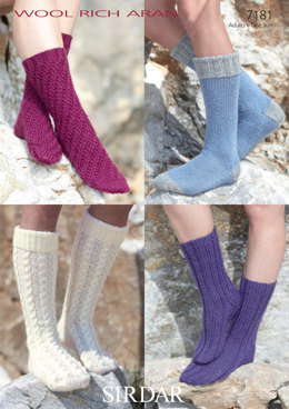 Adult Socks in Sirdar Wool Rich Aran - 7181 - Downloadable PDF