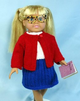 First Day of School, Knitting Patterns fit American Girl and other 18-Inch Dolls