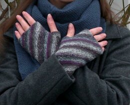 On the Bias fingerless mitts