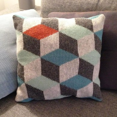 Tunisian Crochet Pillow 3d Blocks Crochet Pattern By Sara Bygvraa