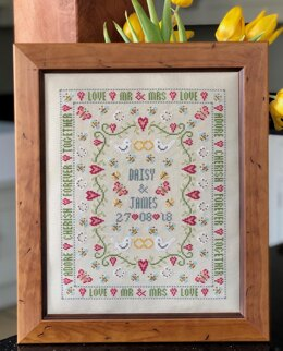 Historical Sampler Company Bee Wedding Sampler Cross Stitch Kit - 27cm x 21cm