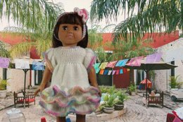 Birthday Party Fiesta Dress, Knitting Patterns fit American Girl and other 18-Inch Dolls