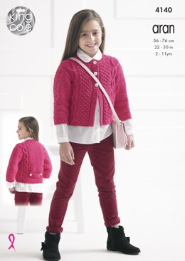 Girls' Cardigans in King Cole Big Value Recycled Cotton Aran - 4140
