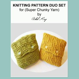 Rae Duo Vintage Country Cottage Style Textured Cushion Set Chunky Yarn Knitting Pattern by Adel Kay