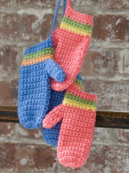 Crochet Striped Mittens in Caron Simply Soft and Simply Soft Brites - Downloadable PDF