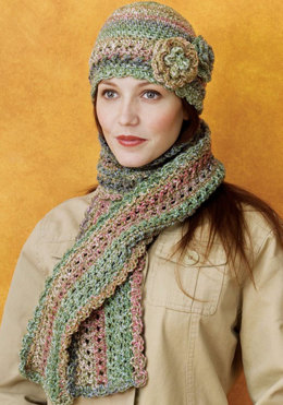 Crocheted Cloche & Scarf Set in Red Heart Collage - LW1634 - Downloadable PDF