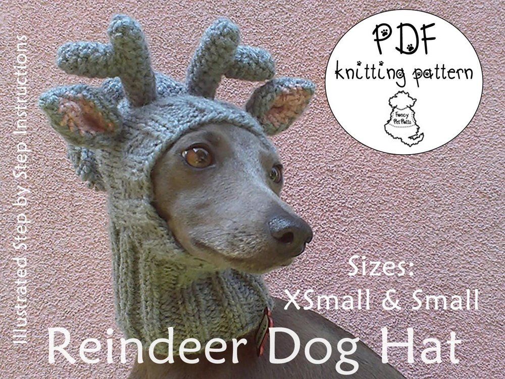Reindeer Dog Hat Sizes Xs And S Knitting Crochet Pattern By Majstyle