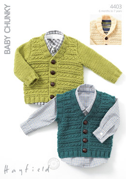 Waistcoat, V Neck Cardigan And Cardigan with Shawl Collar in Hayfield Baby Chunky - 4403
