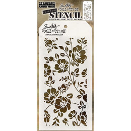 "Stampers Anonymous Tim Holtz Layered Stencil 4.125""X8.5"" - Floral"