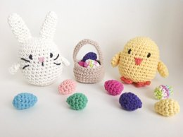 Crochet Easter Stuffed Animal Pattern with Bunny Rabbit, Chick, Basket and Eggs