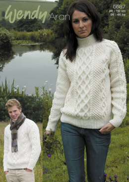 Double Cable Sweaters in Wendy Aran with Wool - 5587