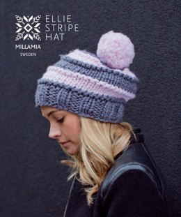 Ellie Stripe Hat in MillaMia Naturally Soft Super Chunky - Downloadable PDF