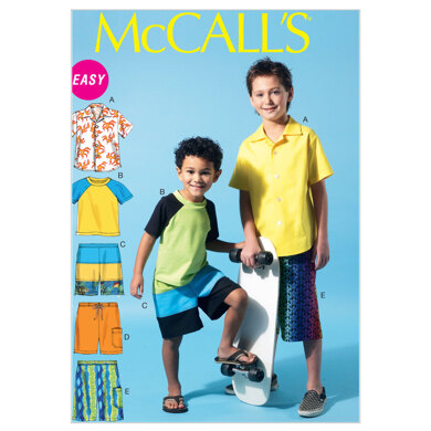 McCall's Children's/Boys' Shirt, Top and Shorts M6548 - Sewing Pattern