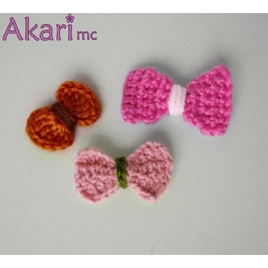 3 crochet bows patterns in 1. Adorable and easy crochet bows. Suitable for beginners. Akari mc_ M02