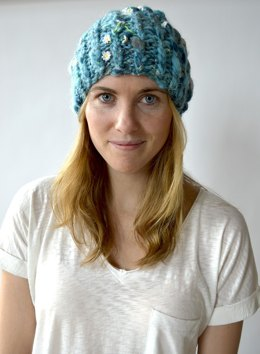 Ribby Slouch Hat in Knit Collage Daisy Chain
