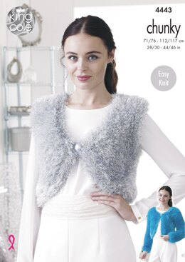 V & Round Neck Boleros in King Cole Tinsel Chunky - 4443 - Downloadable PDF