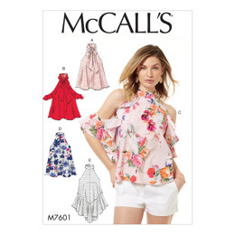 McCall's Misses' Pullover Tops with Front or Back Slit Opening M7601 - Sewing Pattern