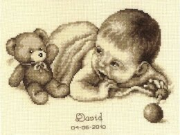 Vervaco Baby and Teddy Moment Birth Sampler Cross Stitch Kit