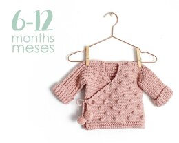 Size 6-12 months- NEO Crochet Crossed Baby Jacket