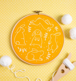 Hawthorn Handmade Bouncing Bunnies Embroidery Kit - 7in