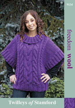 Cabled Poncho Sweater in Twilleys Freedom Wool - 9134