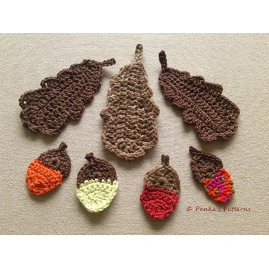 Oak leaf & acorn Crochet pattern by Pankas Patterns