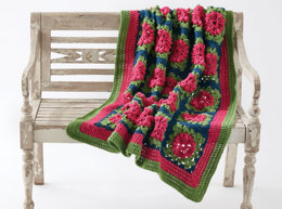 Petal Pops Crochet Blanket in Caron One Pound - Downloadable PDF