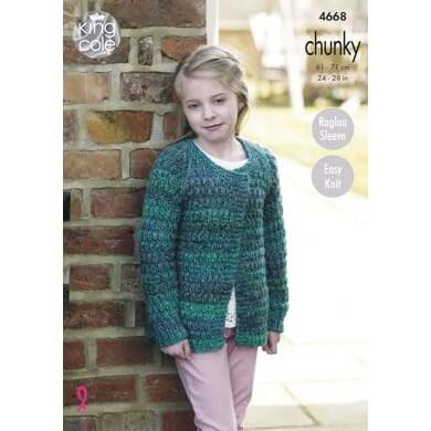 Cardigans in King Cole Chunky - 4668 - Downloadable PDF