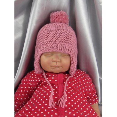 Baby Bobble Garter Stitch Trapper Hat Knitting Pattern By