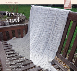 Precious Shawl in UK Alpaca Baby Alpaca Silk 4 Ply - Downloadable PDF