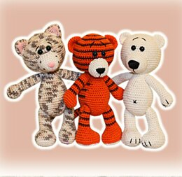 Tiger, Cat and White Bear Crochet Pattern