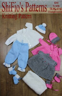 Knitting pattern baby jacket, hat, trousers, dress, booties, blanket/afghan UK & USA Terms #43