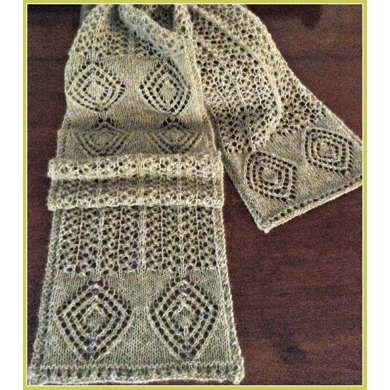 Gold Silver Diamonds And Beads Lace Scarf Knitting Pattern By