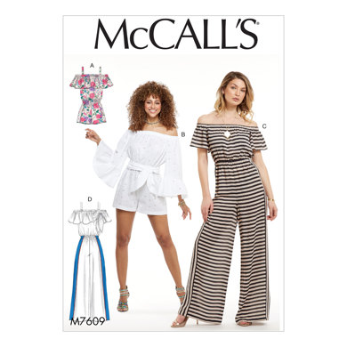 McCall's Misses' Pull-On Off-the-Shoulder Rompers and Jumpsuits with Elastic Waist and Sash M7609 - Sewing Pattern