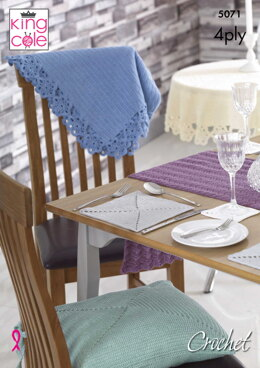 Table Mats, Coasters, Runner, Seat Pads & Table Cloths in King Cole Giza 4Ply - 5071 - Downloadable PDF