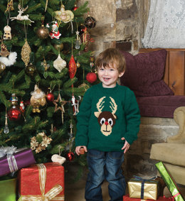 Child's Reindeer Sweater in Patons Fab DK