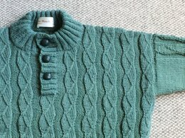 Ribbed Sweater with Button Neck