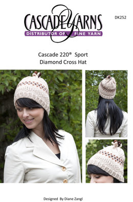 Diamond Cross Hat in Cascade 220 Sport - DK252