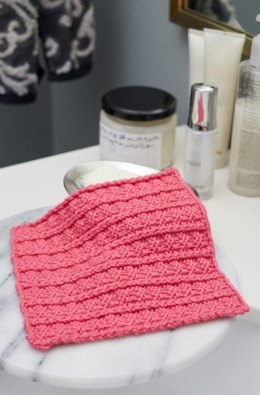 Sailor's Rib Stitch Washcloth in Red Heart Scrubby Smoothie - LM5934 - Downloadable PDF